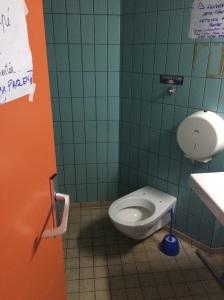 The communal bathroom.